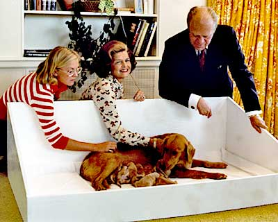 President Ford with Liberty's litter in the White House