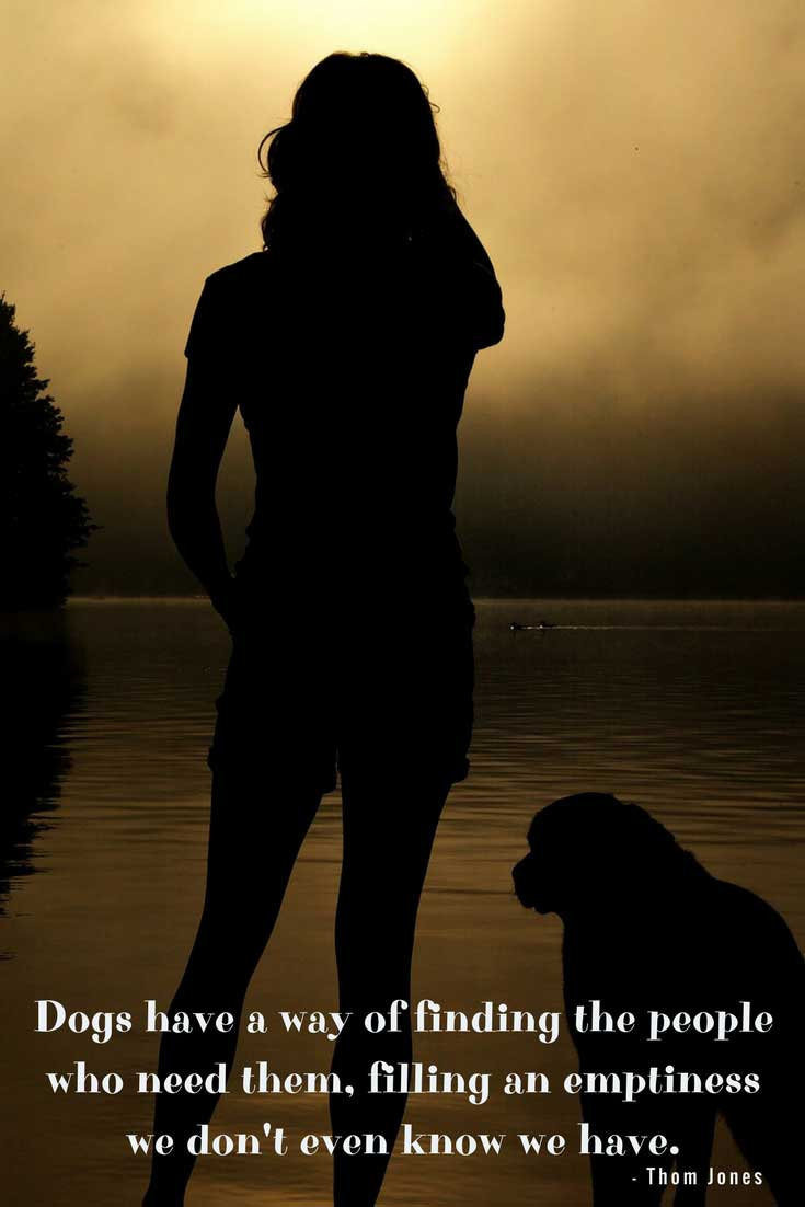 silhouette of a woman and a dog