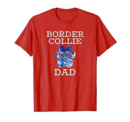 Border Collie Dad Men's dog t-shirt red
