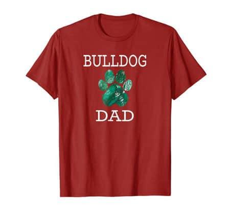 Bulldog Dad Men's dog t-shirt cranberry