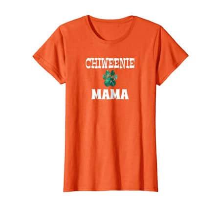 Chiweenie Mama women's dog t-shirt orange