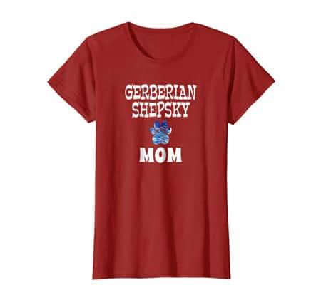 Gerberian Shepsky Mom women's dog t-shirt cranberry