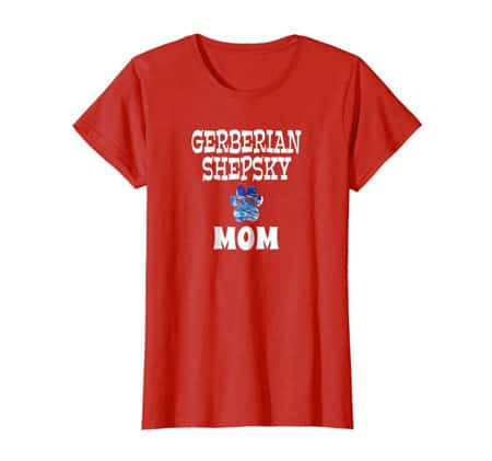Gerberian Shepsky Mom women's dog t-shirt red