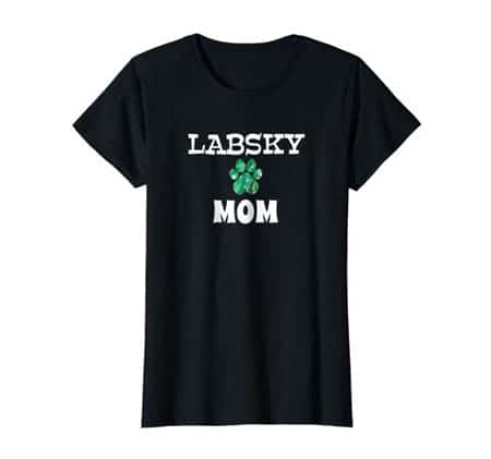 Labsky Mom women's dog t-shirt black