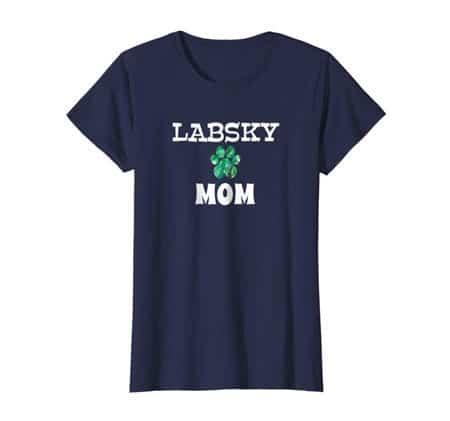 Labsky Mom women's dog t-shirt navy