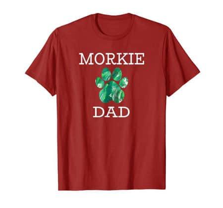 Morkie Dad Men's dog t-shirt cranberry