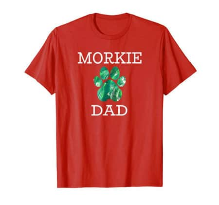 Morkie Dad Men's dog t-shirt red