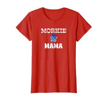 Morkie Mama women's dog t-shirt red