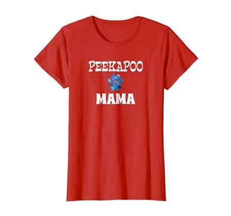 peekapoo Mama women's dog t-shirt red