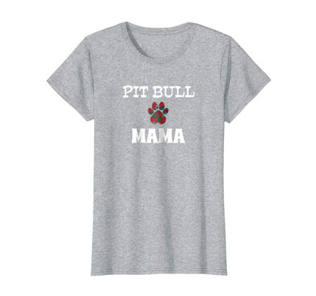 Pit Bull Mama Dog Mom t-shirt heather gray