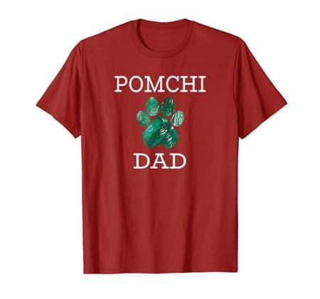 Pomchi Dad Men's dog t-shirt cranberry