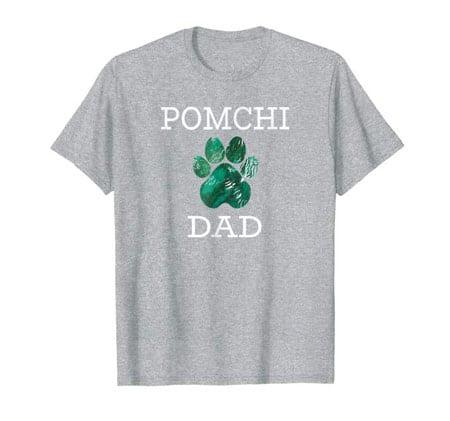 Pomchi Dad Men's dog t-shirt gray