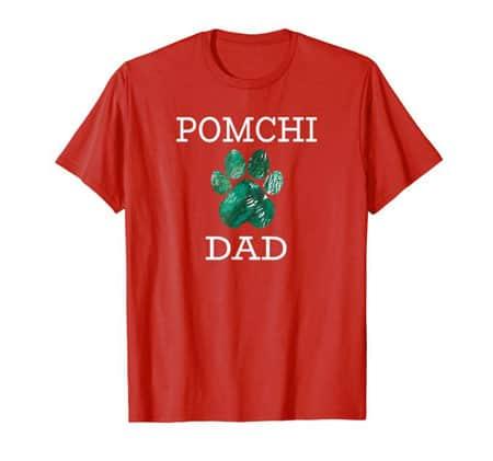 Pomchi Dad Men's dog t-shirt red
