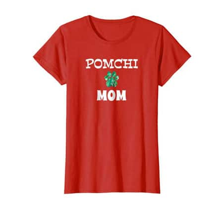 Pomchi Mom women's dog t-shirt red