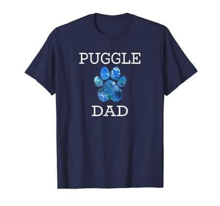 Puggle Dad Men's dog t-shirt navy
