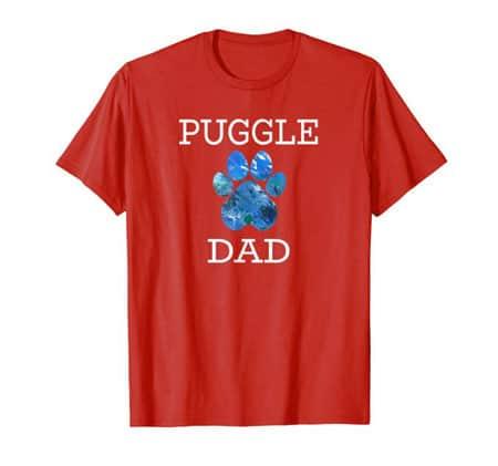 Puggle Dad Men's dog t-shirt red
