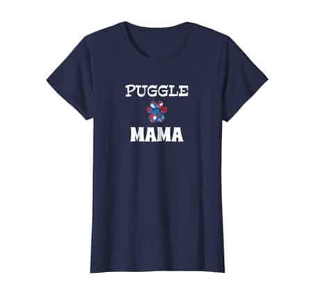 Puggle Mama Dog Mom t-shirt navy