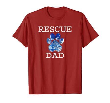 Rescue Dad Men's dog t-shirt cranberry