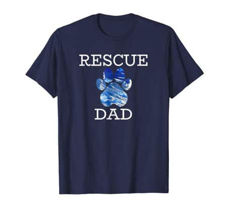 Rescue Dad Men's dog t-shirt navy
