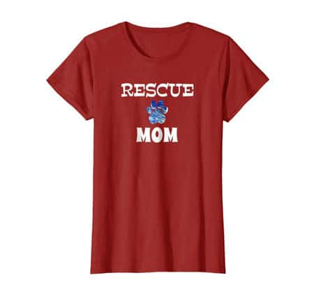 Rescue Dog Mom Shirt cranberry