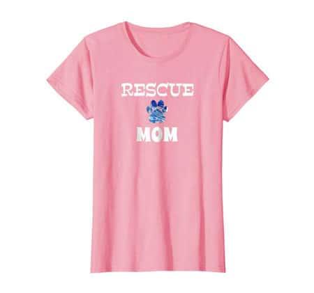 Rescue Dog Mom Shirt pink