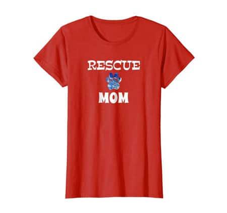 Rescue Dog Mom Shirt Red