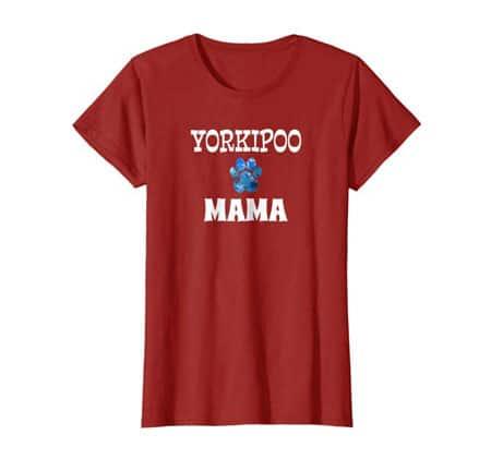 Yorkipoo Mama women's dog t-shirt cranberry