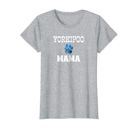 Yorkipoo Mama women's dog t-shirt gray