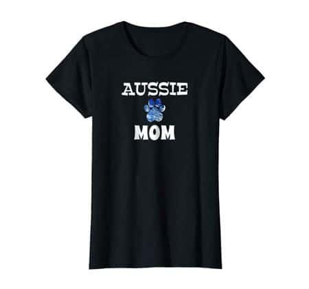 Aussie Mom women's dog t-shirt black