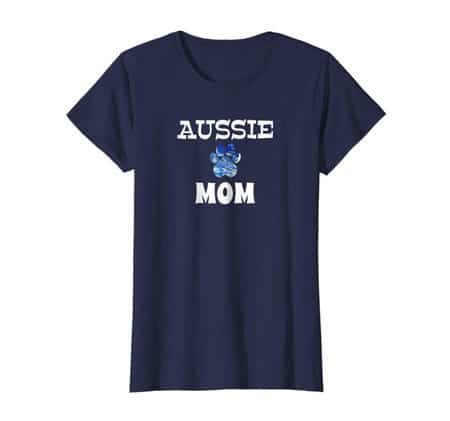 Aussie Mom women's dog t-shirt navy