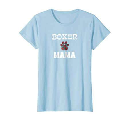 Boxer Mama women's dog t-shirt baby blue