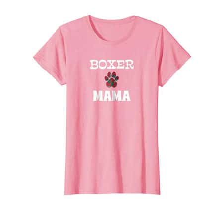 Boxer Mama women's dog t-shirt pink
