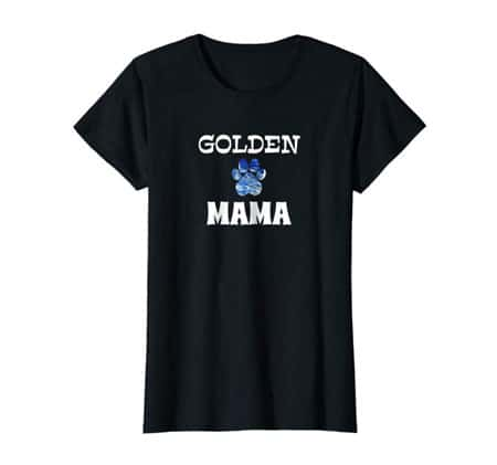 Golden mama women's dog t-shirt black