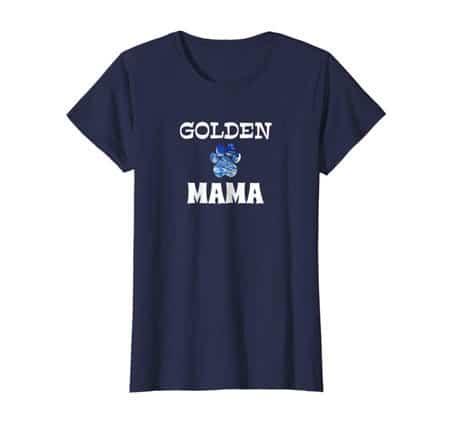 Golden mama women's dog t-shirt blue