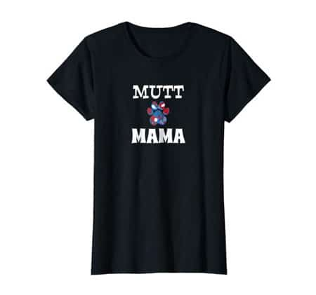 Mutt Mama women's dog t-shirt black