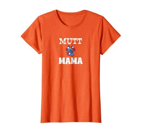 Mutt Mama women's dog t-shirt orange