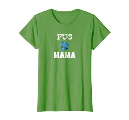 Pug Mama women's dog t-shirt grass