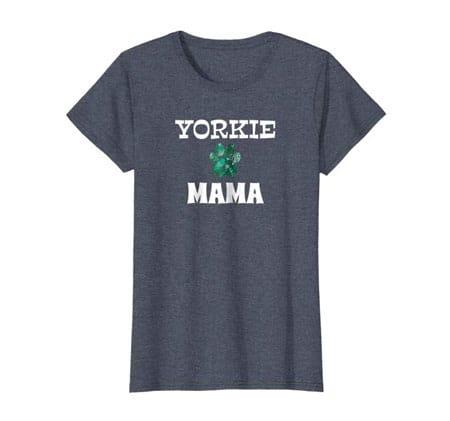 Yorkie Mama women's dog t-shirt dark heather