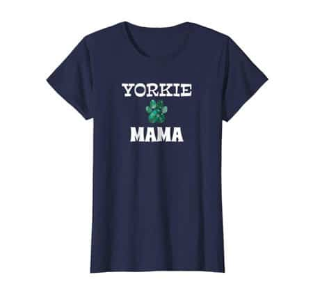 Yorkie Mama women's dog t-shirt navy