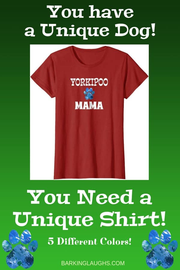 Yorkipoo Mom Shirt from the Barking Laughs Dog Mom Shirts Collection over 30 different Breeds
