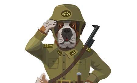 dog soldier cartoon