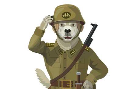 cartoon soldier dog
