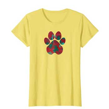 Crimson women Paws shirt yellow