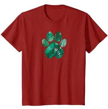 Forest Rain kids Paws shirt cranberry