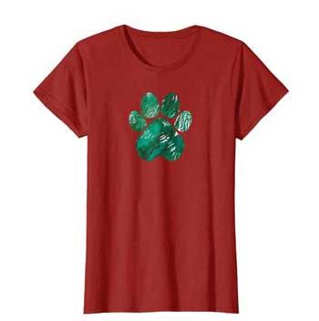 Forest Rain Women Paws shirt cranberry