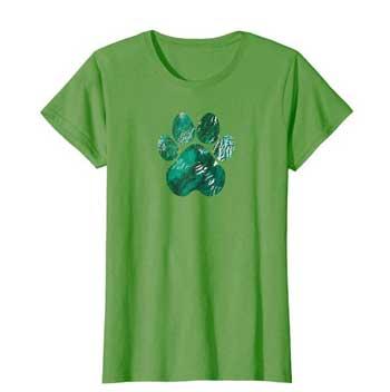 Forest Rain Women Paws shirt green