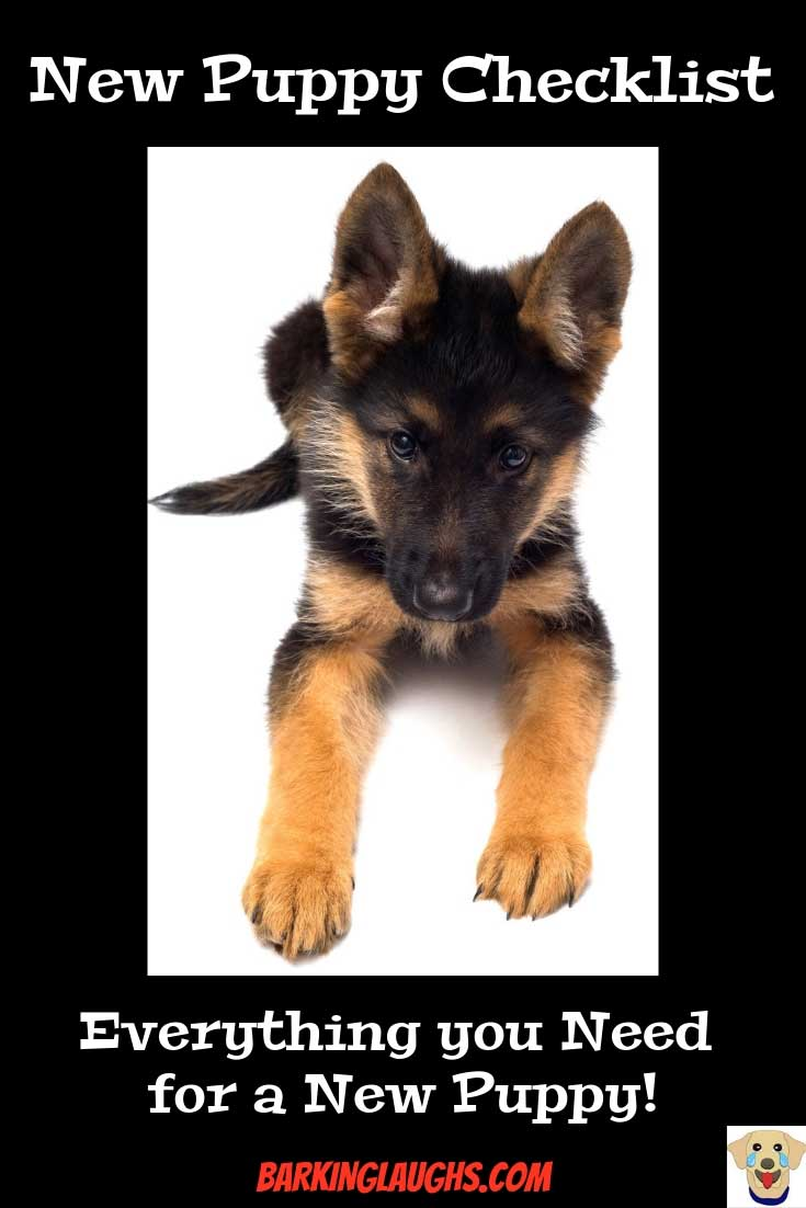 Cute German Shepherd puppy picture. New Puppy Checklist with a printable shopping list.