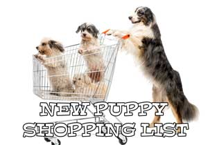 Printable New puppy shopping list with a dog pushing a shopping cart