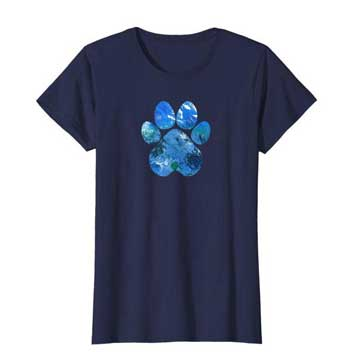 Earth Flight womens Paws shirt blue