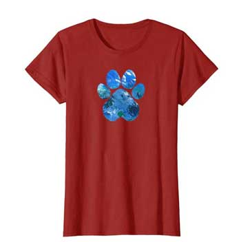 Earth Flight womens Paws shirt cranberry